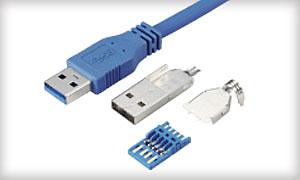 Вилка A SuperSpeed USB в разборе