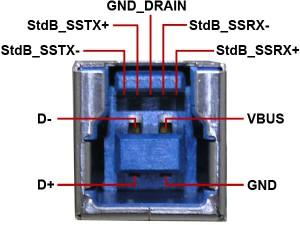Распиновка USB 3.0 - розетка тип B